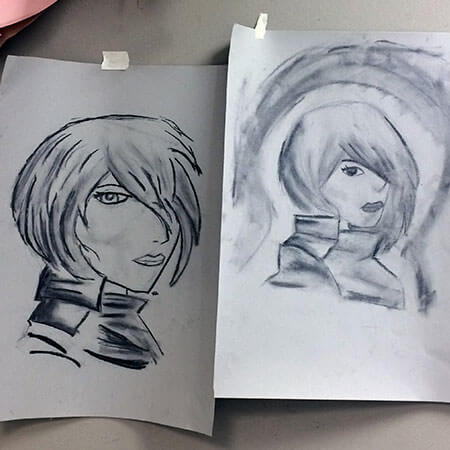 Two manga-style portraits drawn in black and white