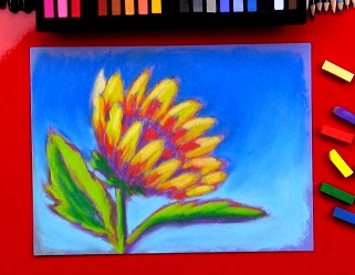 Pastel drawing of a sunflower with pastels on a red tablecloth